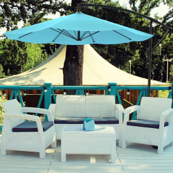 Patio Umbrella, Cantilever Hanging Outdoor Shade, Easy Crank and Base for Table, Deck, Balcony, Porch, Backyard, Pool 10 Foot by Pure Garden (Blue)