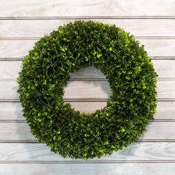 Artificial Tea Leaf Wreath with Grapevine Base- UV Resistant Greenery Half Wreath with Slim Profile for Front Door, Wall DecorPure Garden (17.5?) Image