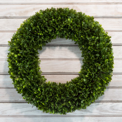 Artificial Tea Leaf Wreath with Grapevine Base- UV Resistant Greenery Half Wreath with Slim Profile for Front Door, Wall DecorPure Garden (19.5?) Image