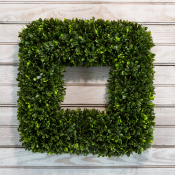 Artificial Tea Leaf Wreath with Grapevine Base- UV Resistant Greenery Square Wreath with Slim Profile for Front Door, Wall DecorPure Garden (17?) Image