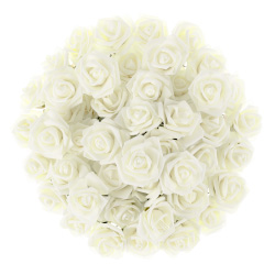 Artificial Roses with Stems- Real Touch Fake Flowers for Home Decor, Wedding, Bridal/Baby Shower, Centerpiece, More, 50 Pc SetPure Garden (Ivory) Image