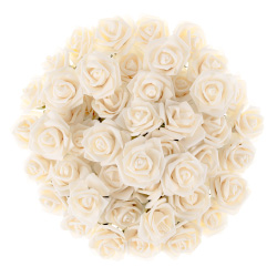 Artificial Roses with Stems- Real Touch Fake Flowers for Home Decor, Wedding, Bridal/Baby Shower, Centerpiece, More, 50 Pc SetPure Garden (Cream) Image