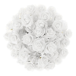 Artificial Roses with Stems- Real Touch Fake Flowers for Home Decor, Wedding, Bridal/Baby Shower, Centerpiece, More, 50 Pc SetPure Garden (White) Image