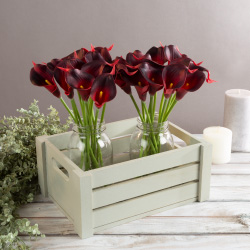 Artificial Calla-Lily with Stems - Real Touch Fake Flowers for Home Decor, Wedding, Bridal/Baby Shower, More- 24 Pc SetPure Garden (Brick Red) Image