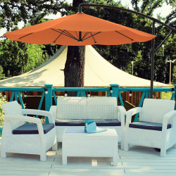 Patio Umbrella, Cantilever Hanging Outdoor Shade- Easy Crank and Base for Table, Deck, Porch, Backyard, Pool- 10 Ft by Pure Garden (Terracotta)