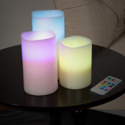 Lavish Home 3 Piece LED Color Changing Flameless Candle Set w/ Remote