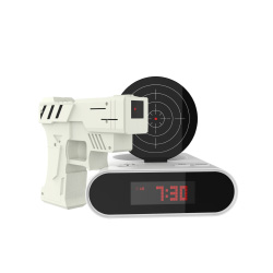 Toy Gun Alarm Clock Game-Infrared Laser Activated Snooze Target, Record Personalized Alarm, 12 Hour Digital Display, Sound Effect by TM Games