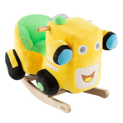 Rocking Train Toy- Kids Ride Plush Stuffed Ride on Wooden Rockers with Sounds and Handles-Make Believe Fun for Boys, Girls, Toddlers by Happy Trails