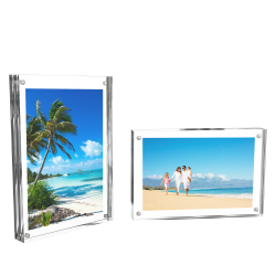 Acrylic Picture Frames 4x6?- Clear Freestanding Block Frame with Double Sided Photo/Art Display and Magnetic Closure- Set of 2 by Lavish Home