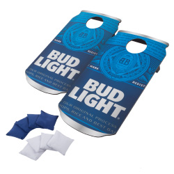 Bud Light Cornhole Outdoor Game Set, 2 Wooden Anheuser-Busch Can-Shaped Corn Hole Toss Boards with 8 Bean Bags