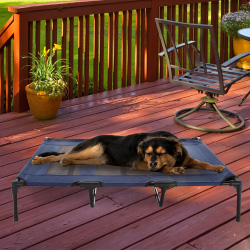 Elevated Pet Bed-Portable Raised Cot-Style Bed W/ Non-Slip Feet, 48?x 35.5?x 9? for Dogs, Cats, and Small Pets-Indoor/Outdoor Use by Petmaker (Blue)