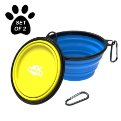 Collapsible Pet Bowls- Portable Silicone Food and Water Dog Bowl Set, BPA and Lead Free with Carabiner Clips for Travel- 2 Pack, 32oz Each By PETMAKER
