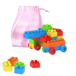 Building Blocks-Classic 90 Piece Set with Storage Bag-Stacking, Sorting, Color, Shape Recognition STEM Learning Toy for Boys and Girls by Hey! Play!