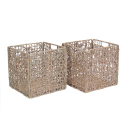 Villacera 12-Inch Square Handmade Wicker Storage Bin, Decorative Foldable Baskets made of Water Hyacinth | Set of 2