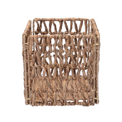 Villacera 12-Inch Square Hand-Woven Wicker Storage Bin, Foldable Baskets made of Water Hyacinth | Wire Frame | Set of 2