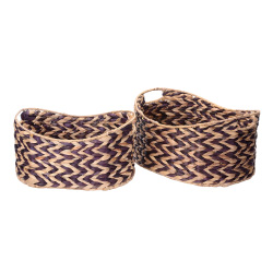 Villacera Bernard Handmade Wicker Water Hyacinth Oval Nesting Baskets Braided in Brown and Natural Seagrass | Set of 2