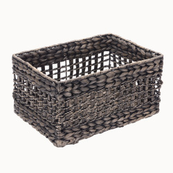 Villacera Rectangle Hand Weaved Wicker Baskets made of Water Hyacinth | Nesting Black Seagrass Bins | Set of 2