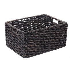 Villacera Rectangle Handmade Twisted Wicker Baskets made of Water Hyacinth | Nesting Black Seagrass Bins | Set of 2