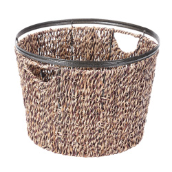 Villacera Round Handmade Twisted Wicker Baskets made of Water Hyacinth | Nesting Natural Seagrass Tubs | Set of 3