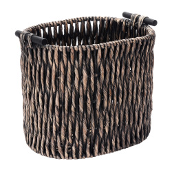 Villacera Oval Handmade Twisted Wicker Baskets made of Water Hyacinth | Tall Nesting Black Seagrass Tubs | Set of 2