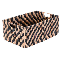 Villacera Rectangle Handmade Twisted Wicker Baskets made of Water Hyacinth | Nesting Black and Natural Seagrass Bins | Set of