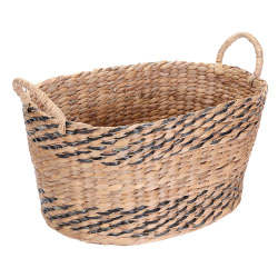 Villacera Oval Handmade Twisted Wicker Baskets made of Water Hyacinth | Nesting Black and Natural Seagrass Bins | Set of 2