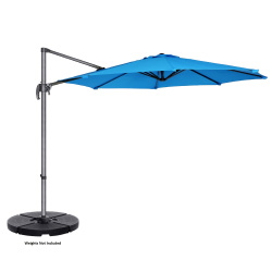 Villacera 10' Offset Outdoor Patio Umbrella with 360 Degree Rotation Pole and Vertical Tilt, Blue