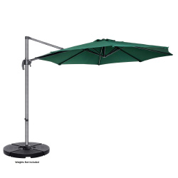 Villacera 10' Offset Outdoor Patio Umbrella with 360 Degree Rotation Pole and Vertical Tilt, Green