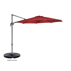 Villacera 10' Offset Outdoor Patio Umbrella with 360 Degree Rotation Pole and Vertical Tilt, Red