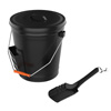 4.75 Gallon Black Ash Bucket with Lid and Shovel-Essential Tools for Fireplaces, Fire Pits, Wood Burning Stoves-Hearth Accessories by Pure Garden