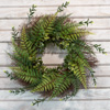 Artificial Fern Wreath with Grapevine Base- UV Resistant Greenery Wreath with Blossoms, Slim Profile for Front Door, Wall D�cor by Pure Garden (21?)