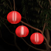 Chinese Lanterns-Hanging Fabric Lamps with Solar Powered LED Bulbs and Hanging Hooks-Perfect for Patio, Trees, or Porch by Pure Garden (Set of 3-Red)