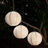 Chinese Lanterns-Hanging Fabric Lamps with Solar Powered LED Bulbs and Hanging Hooks-Perfect for Patio, Trees, or Porch by Pure Garden (3 Pack-White)