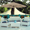 Patio Umbrella, Cantilever Hanging Outdoor Shade- Easy Crank and Base for Table, Deck, Porch, Backyard, Pool- 10 Ft by Pure Garden (Sand)