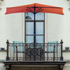 Half Round Patio Umbrella with Easy Crank- Small Space Outdoor Shade Umbrella for Balcony, Porch, Deck, Awning- 9 Foot by Pure Garden (Terracotta)