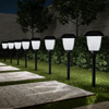 Solar Path Lights, Set of 8- 16? Tall Stainless Steel Outdoor Stake Lighting for Garden, Landscape, Yard, Driveway, Walkway by Pure Garden (Black)