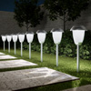Solar Path Lights, Set of 8- 16? Tall Stainless Steel Outdoor Stake Lighting for Garden, Landscape, Yard, Driveway, Walkway by Pure Garden (Gunmetal)