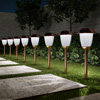 Solar Path Lights, Set of 8- 16? Tall Stainless Steel Outdoor Stake Lighting for Garden, Landscape, Yard, Driveway, Walkway by Pure Garden (Copper)