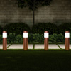 Solar Path Bollard Lights, Set of 6- 15? Stainless Steel Outdoor Stake Lighting for Garden, Landscape, Yard, Driveway, Walkway by Pure Garden (Copper)