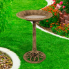 Antique Bird Bath- Weather Resistant Resin Birdbath with Vintage Scroll Design, 3 Ground Stakes for Garden, Outdoor Decor by Pure Garden (Bronze)