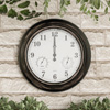 Wall Clock Thermometer-Indoor Outdoor Decorative 18? Quartz Battery-Powered, Waterproof Clock, Temperature and Hygrometer Gauge by Pure Garden