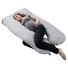 Pregnancy Pillow- Full Body Maternity Pillow with Removable Cover and Contoured U-Shape Design for Back/Body Support by Lavish Home Collection (Gray)