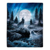 Sherpa Fleece Throw Blanket- Howling Wolf Pattern, Lightweight Hypoallergenic Bed or Couch Soft Plush Blanket for Adults and Kids by Lavish Home