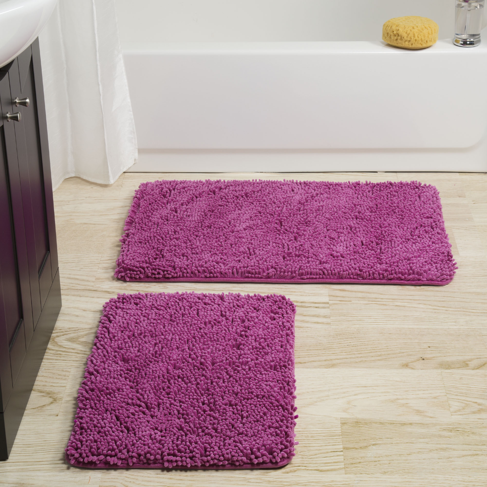 Lavish Home 2 Piece Memory Foam Shag Bath Mat - Pink