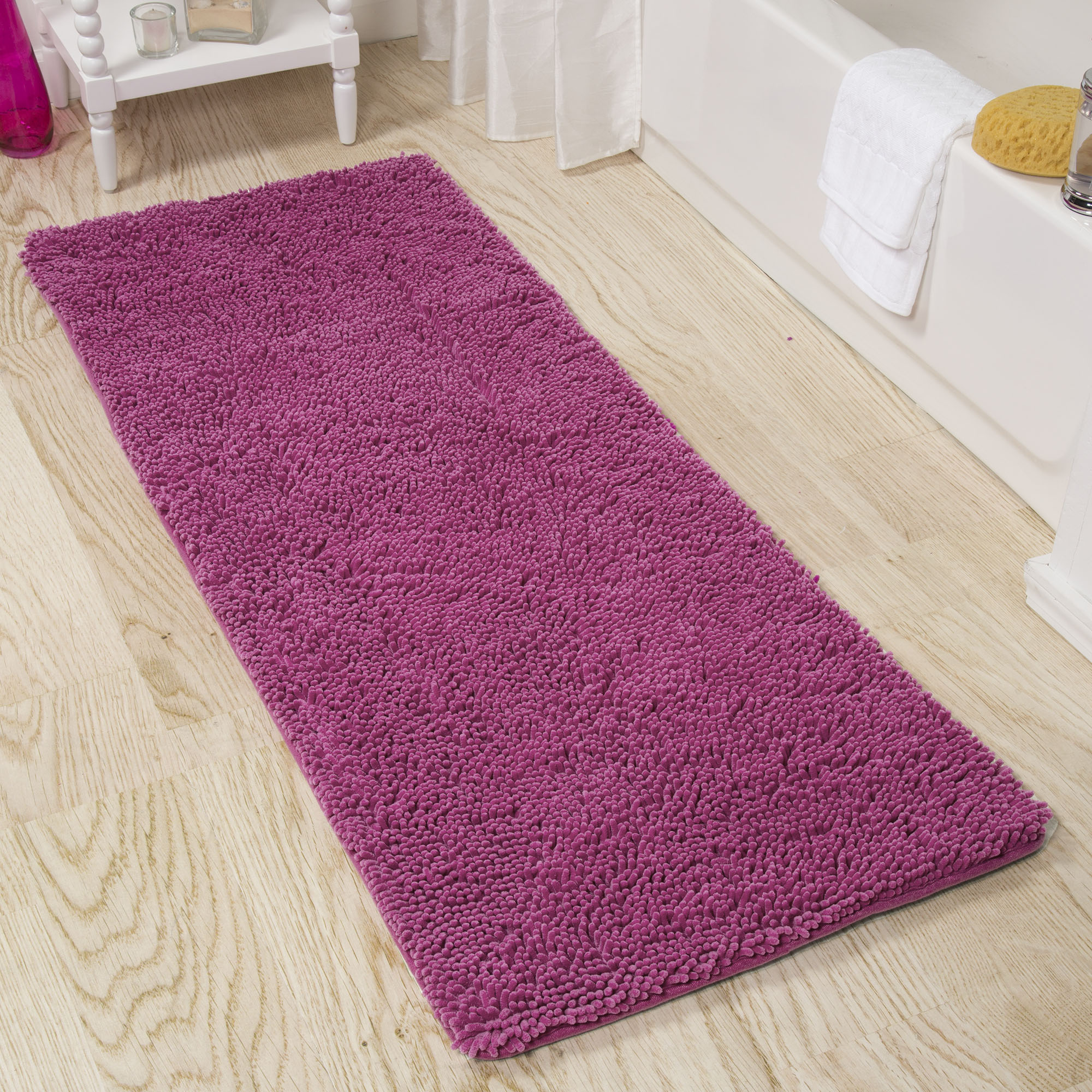 Lavish Home Memory Foam Shag Bath Mat 2-feet by 5-feet - Pink