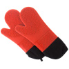 Silicone Oven Mitts ? Extra Long Professional Quality Heat Resistant with Quilted Lining and 2-sided Textured Grip ? 1 pair Red by Lavish Home
