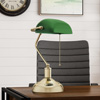 Banker?s Lamp with Green Glass Shade- Antique Vintage Style Retro Desk or Table Lamp with Pull Cord, Energy Saving Light Bulb Included by Lavish Home