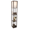 Floor Lamp-Etagere Style Tall Standing with Shade LED Light Bulb Included-3 Tiers Storage Shelving for Accent Decor Organization-by Lavish Home(Brown)
