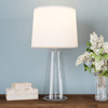 Clear Glass Lamp-Open Base Table Light with LED Bulb and Shade-Modern Decorative Lighting for Coastal, Nautical, Rustic Cottage Styles by Lavish Home