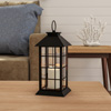 Decorative Candle Lantern with Vintage Grid Design- Color Changing Flameless LED Pillar Candle and Remote Control with Timer By Lavish Home
